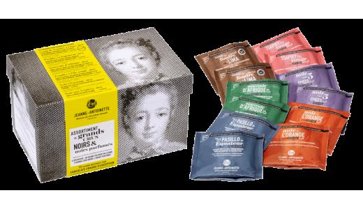 Boite assortiment de 12 pochons noir parfumé - Chocolat en poudre par Jeanne Antoinette